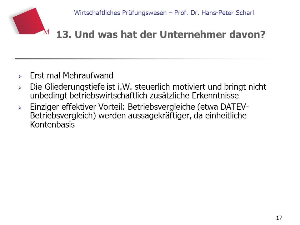 17 Wirtschaftliches Prüfungswesen – Prof. Dr. Hans-Peter Scharl  Erst mal Mehraufwand  Die Gliederungstiefe ist i.W. steuerlich motiviert und bringt