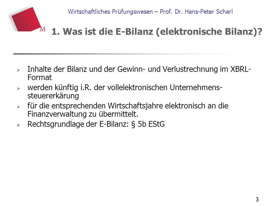 3 Wirtschaftliches Prüfungswesen – Prof. Dr. Hans-Peter Scharl  Inhalte der Bilanz und der Gewinn- und Verlustrechnung im XBRL- Format  werden künft