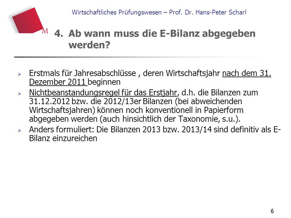 6 Wirtschaftliches Prüfungswesen – Prof. Dr. Hans-Peter Scharl  Erstmals für Jahresabschlüsse, deren Wirtschaftsjahr nach dem 31. Dezember 2011 begin