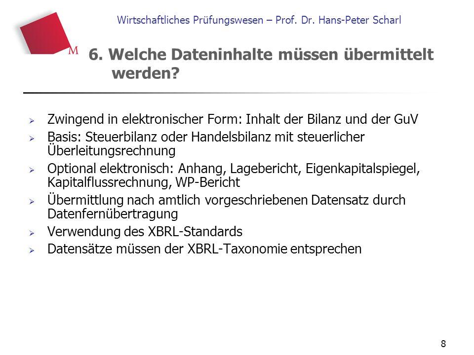 8 Wirtschaftliches Prüfungswesen – Prof. Dr. Hans-Peter Scharl  Zwingend in elektronischer Form: Inhalt der Bilanz und der GuV  Basis: Steuerbilanz