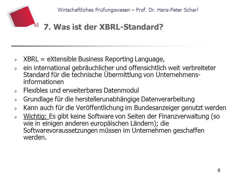 9 Wirtschaftliches Prüfungswesen – Prof. Dr. Hans-Peter Scharl  XBRL = eXtensible Business Reporting Language,  ein international gebräuchlicher und
