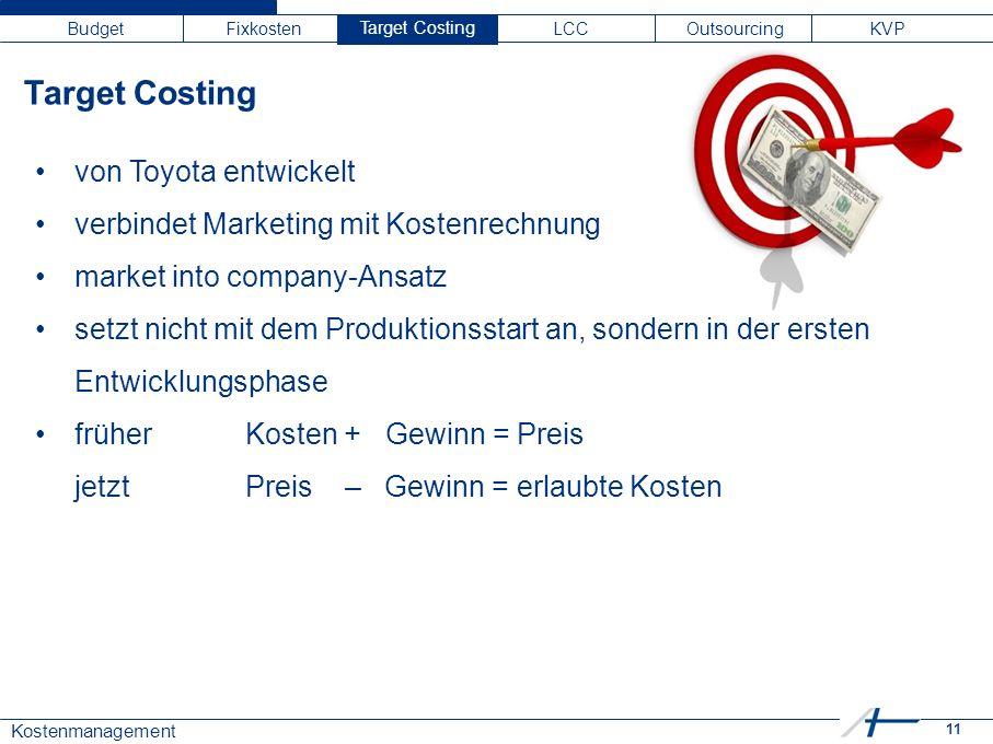11 Kostenmanagement Budget Fixkosten Target C LCC Outsourcing KVP von Toyota entwickelt verbindet Marketing mit Kostenrechnung market into company-Ansatz setzt nicht mit dem Produktionsstart an, sondern in der ersten Entwicklungsphase früher Kosten + Gewinn = Preis jetztPreis – Gewinn = erlaubte Kosten Target Costing