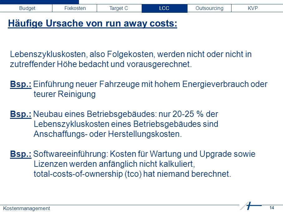 14 Kostenmanagement Budget Fixkosten Target C LCC Outsourcing KVP Häufige Ursache von run away costs: Lebenszykluskosten, also Folgekosten, werden nic
