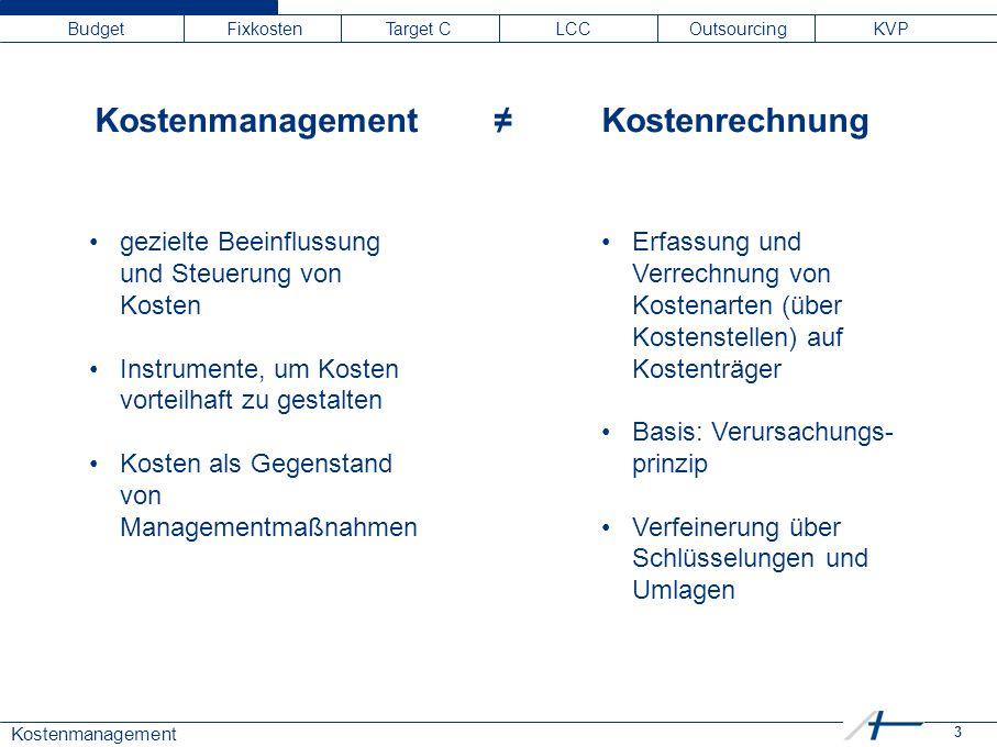 3 Kostenmanagement Budget Fixkosten Target C LCC Outsourcing KVP Kostenmanagement ≠ Kostenrechnung gezielte Beeinflussung und Steuerung von Kosten Ins