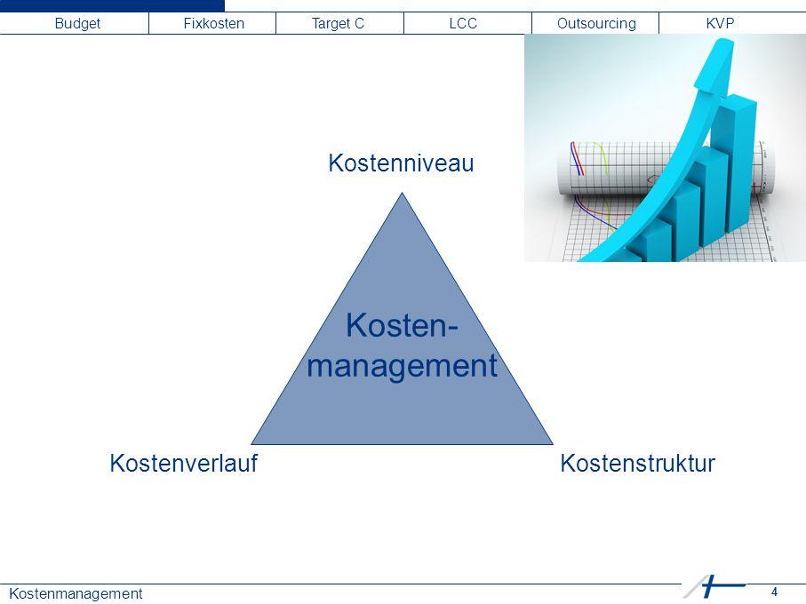 4 Kostenmanagement Budget Fixkosten Target C LCC Outsourcing KVP Kosten- management Kostenniveau KostenverlaufKostenstruktur