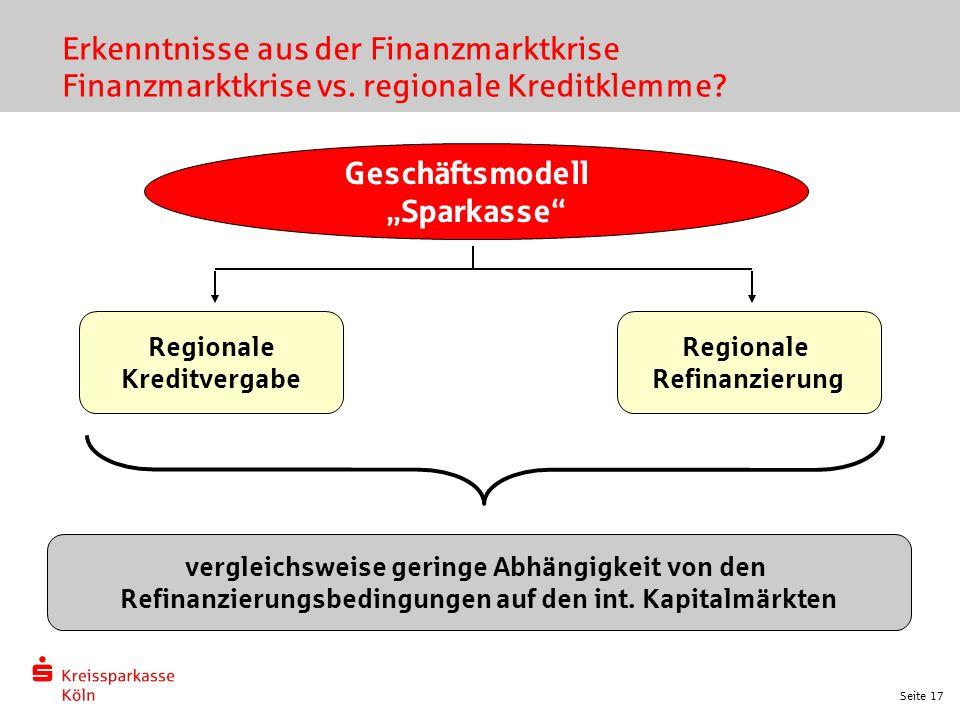 """Seite 17 Erkenntnisse aus der Finanzmarktkrise Finanzmarktkrise vs. regionale Kreditklemme? Geschäftsmodell """"Sparkasse"""" Regionale Kreditvergabe vergle"""