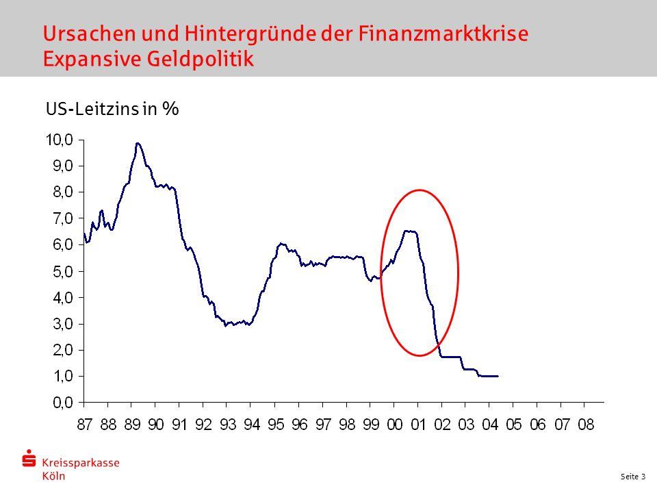 Seite 3 Ursachen und Hintergründe der Finanzmarktkrise Expansive Geldpolitik US-Leitzins in %