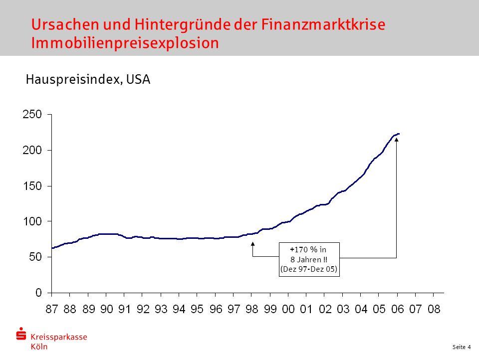 Seite 4 Ursachen und Hintergründe der Finanzmarktkrise Immobilienpreisexplosion Hauspreisindex, USA +170 % in 8 Jahren !! (Dez 97-Dez 05)