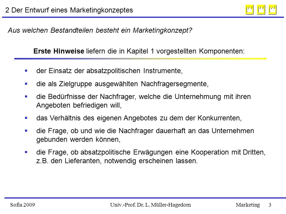 Sofia 2009Marketing 3Univ.-Prof. Dr. L. Müller-Hagedorn 2 Der Entwurf eines Marketingkonzeptes Aus welchen Bestandteilen besteht ein Marketingkonzept?