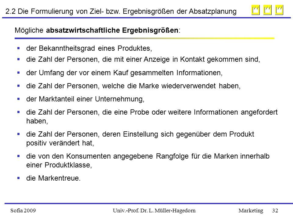 Sofia 2009Marketing 32Univ.-Prof.Dr. L. Müller-Hagedorn 2.2 Die Formulierung von Ziel- bzw.