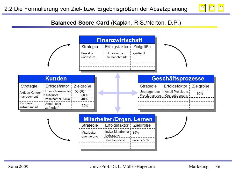 Sofia 2009Marketing 36Univ.-Prof.Dr. L. Müller-Hagedorn 2.2 Die Formulierung von Ziel- bzw.