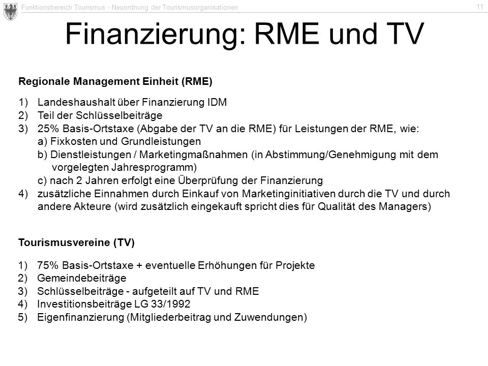 Funktionsbereich Tourismus - Neuordnung der Tourismusorganisationen 11 Finanzierung: RME und TV Regionale Management Einheit (RME) 1)Landeshaushalt über Finanzierung IDM 2)Teil der Schlüsselbeiträge 3)25% Basis-Ortstaxe (Abgabe der TV an die RME) für Leistungen der RME, wie: a) Fixkosten und Grundleistungen b) Dienstleistungen / Marketingmaßnahmen (in Abstimmung/Genehmigung mit dem vorgelegten Jahresprogramm) c) nach 2 Jahren erfolgt eine Überprüfung der Finanzierung 4)zusätzliche Einnahmen durch Einkauf von Marketinginitiativen durch die TV und durch andere Akteure (wird zusätzlich eingekauft spricht dies für Qualität des Managers) Tourismusvereine (TV) 1)75% Basis-Ortstaxe + eventuelle Erhöhungen für Projekte 2)Gemeindebeiträge 3)Schlüsselbeiträge - aufgeteilt auf TV und RME 4)Investitionsbeiträge LG 33/1992 5)Eigenfinanzierung (Mitgliederbeitrag und Zuwendungen)