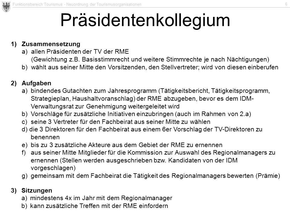 Funktionsbereich Tourismus - Neuordnung der Tourismusorganisationen 6 1)Zusammensetzung a)allen Präsidenten der TV der RME (Gewichtung z.B. Basisstimm