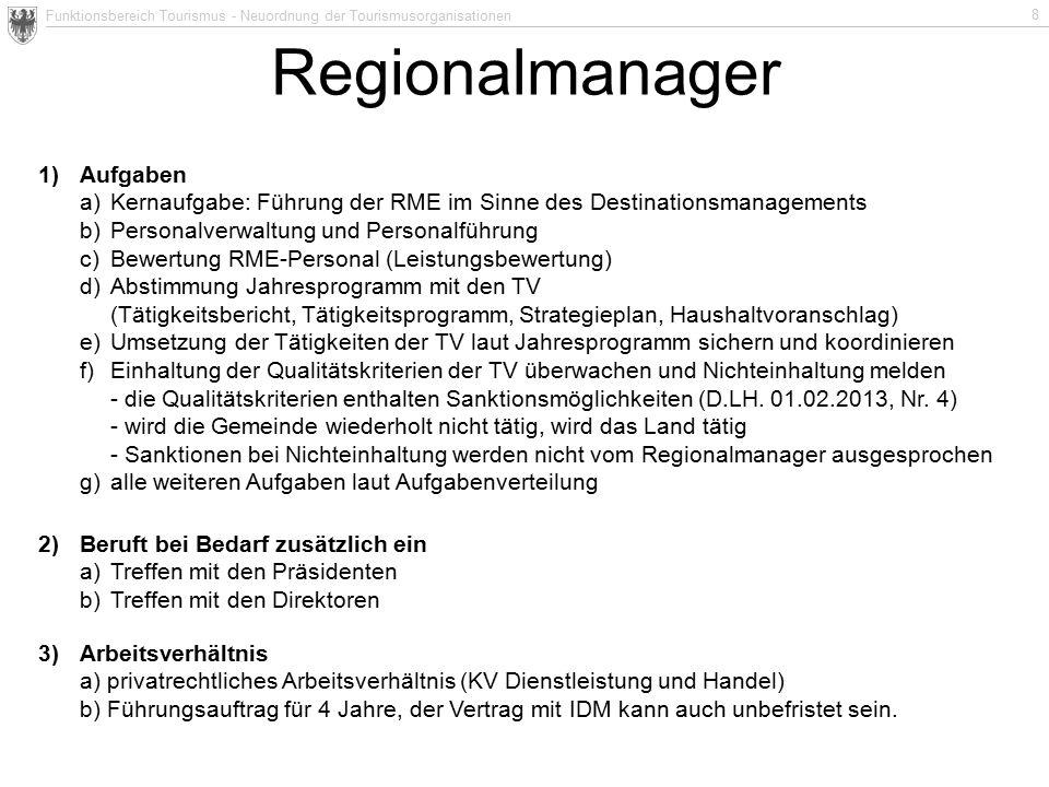 Funktionsbereich Tourismus - Neuordnung der Tourismusorganisationen 8 Regionalmanager 1) Aufgaben a)Kernaufgabe: Führung der RME im Sinne des Destinat