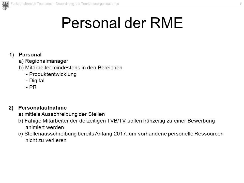 Funktionsbereich Tourismus - Neuordnung der Tourismusorganisationen 9 Personal der RME 1)Personal a) Regionalmanager b) Mitarbeiter mindestens in den
