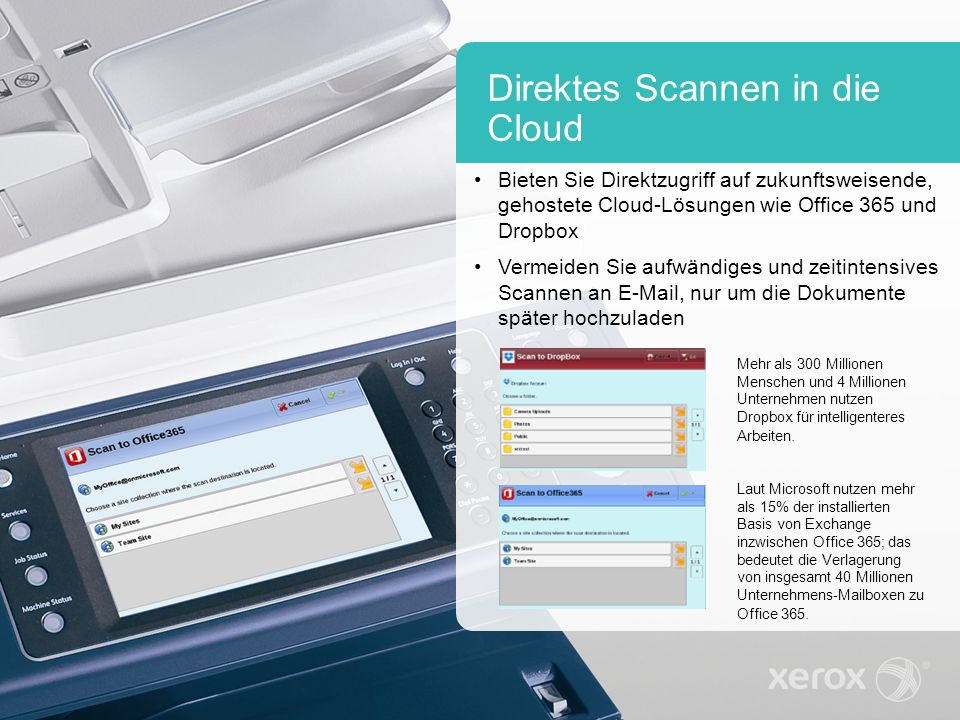 Direktes Scannen in die Cloud Bieten Sie Direktzugriff auf zukunftsweisende, gehostete Cloud-Lösungen wie Office 365 und Dropbox Vermeiden Sie aufwändiges und zeitintensives Scannen an E-Mail, nur um die Dokumente später hochzuladen Mehr als 300 Millionen Menschen und 4 Millionen Unternehmen nutzen Dropbox für intelligenteres Arbeiten.