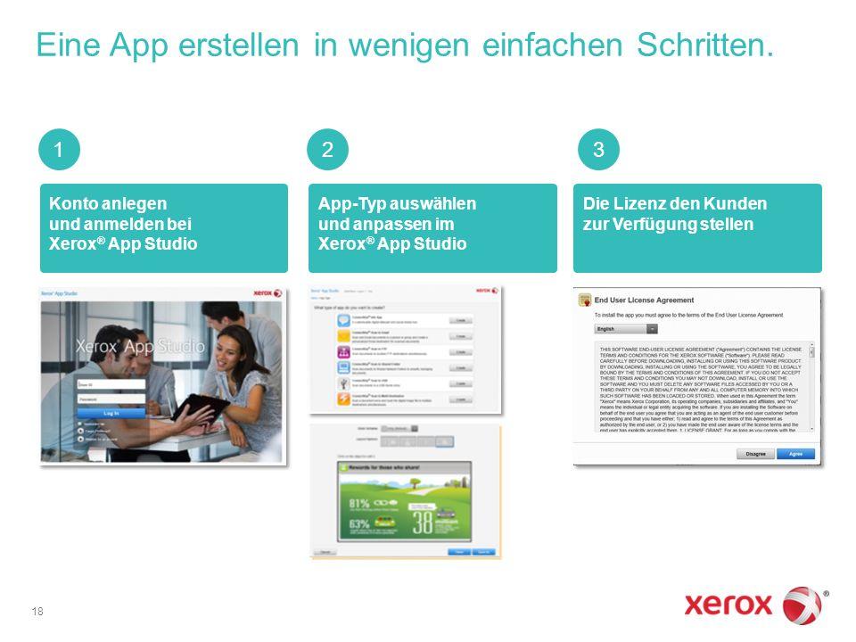 Konto anlegen und anmelden bei Xerox ® App Studio Die Lizenz den Kunden zur Verfügung stellen App-Typ auswählen und anpassen im Xerox ® App Studio Eine App erstellen in wenigen einfachen Schritten.