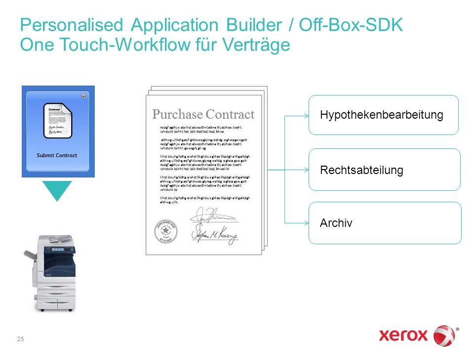Personalised Application Builder / Off-Box-SDK One Touch-Workflow für Verträge 25 Hypothekenbearbeitung Rechtsabteilung Archiv