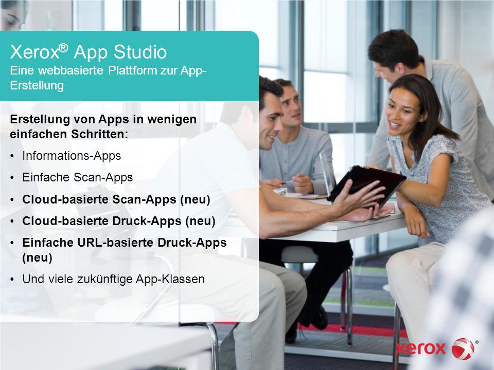 Xerox ® App Studio Eine webbasierte Plattform zur App- Erstellung Erstellung von Apps in wenigen einfachen Schritten: Informations-Apps Einfache Scan-Apps Cloud-basierte Scan-Apps (neu) Cloud-basierte Druck-Apps (neu) Einfache URL-basierte Druck-Apps (neu) Und viele zukünftige App-Klassen