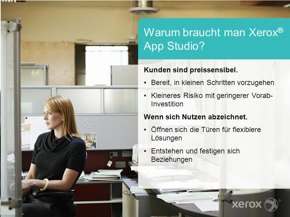 Warum braucht man Xerox ® App Studio? Kunden sind preissensibel. Bereit, in kleinen Schritten vorzugehen Kleineres Risiko mit geringerer Vorab- Invest