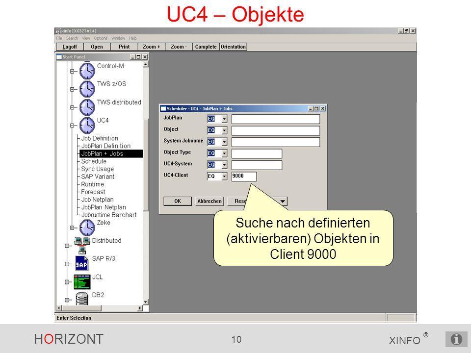 HORIZONT 10 XINFO ® UC4 – Objekte Suche nach definierten (aktivierbaren) Objekten in Client 9000