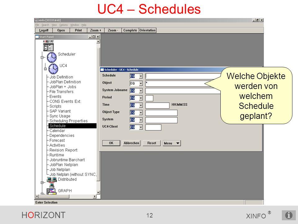 HORIZONT 12 XINFO ® UC4 – Schedules Welche Objekte werden von welchem Schedule geplant?