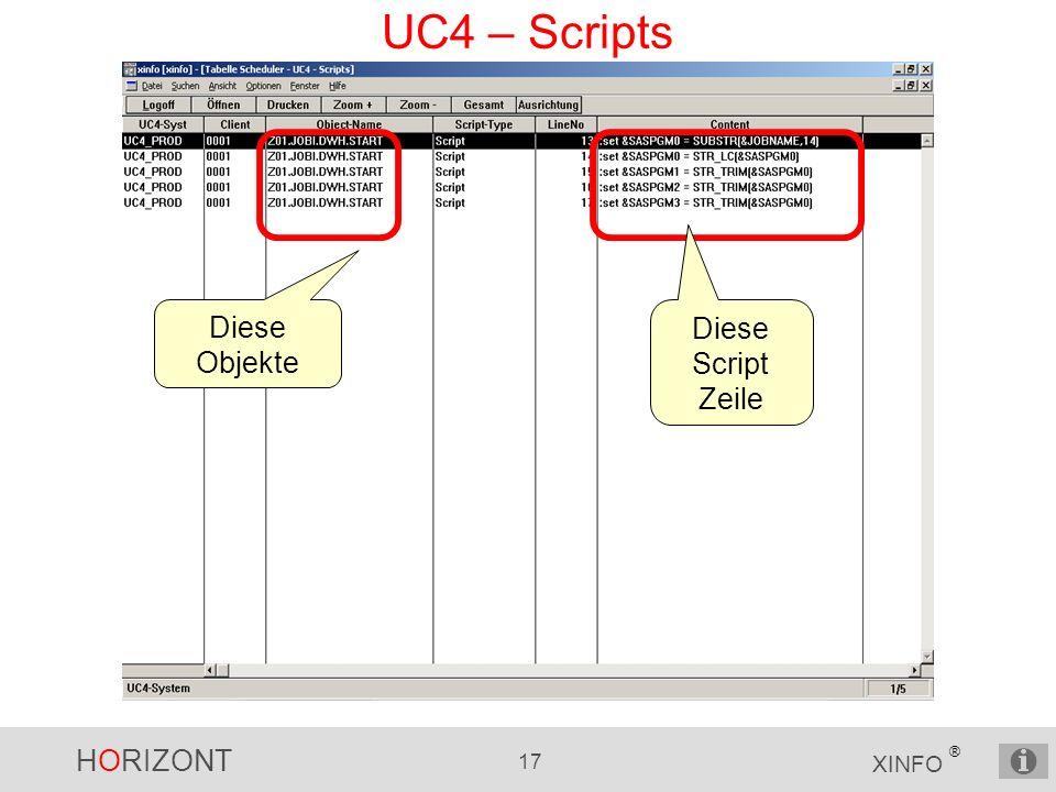 HORIZONT 17 XINFO ® UC4 – Scripts Diese Objekte Diese Script Zeile
