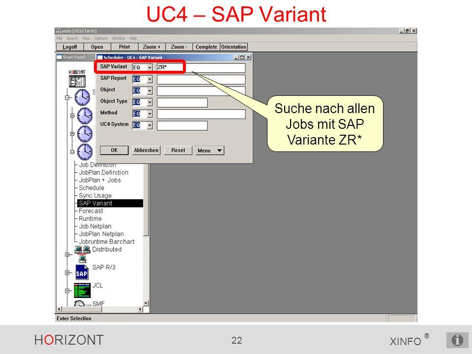HORIZONT 22 XINFO ® UC4 – SAP Variant Suche nach allen Jobs mit SAP Variante ZR*