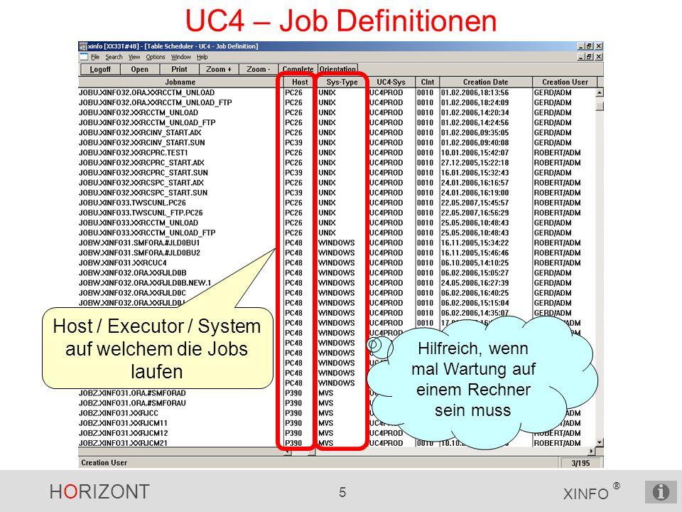 HORIZONT 5 XINFO ® UC4 – Job Definitionen Host / Executor / System auf welchem die Jobs laufen Hilfreich, wenn mal Wartung auf einem Rechner sein muss