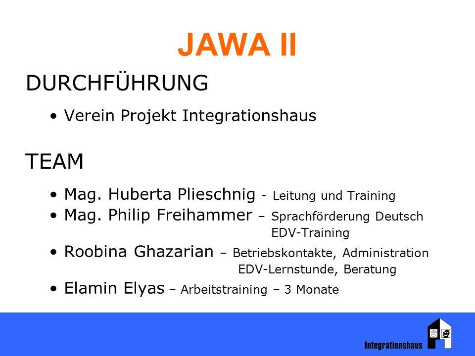 JAWA II DURCHFÜHRUNG Verein Projekt Integrationshaus TEAM Mag. Huberta Plieschnig - Leitung und Training Mag. Philip Freihammer – Sprachförderung Deut
