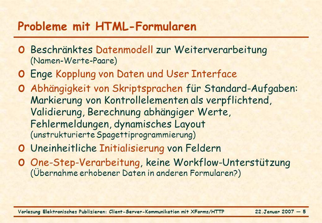 22.Januar 2007 ― 6Vorlesung Elektronisches Publizieren: Client-Server-Kommunikation mit XForms/HTTP Profil XForms … o W3C-Standard XForms 1.0 (14.