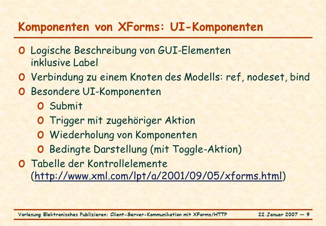22.Januar 2007 ― 9Vorlesung Elektronisches Publizieren: Client-Server-Kommunikation mit XForms/HTTP Komponenten von XForms: UI-Komponenten o Logische Beschreibung von GUI-Elementen inklusive Label o Verbindung zu einem Knoten des Modells: ref, nodeset, bind o Besondere UI-Komponenten o Submit o Trigger mit zugehöriger Aktion o Wiederholung von Komponenten o Bedingte Darstellung (mit Toggle-Aktion) o Tabelle der Kontrollelemente (http://www.xml.com/lpt/a/2001/09/05/xforms.html)http://www.xml.com/lpt/a/2001/09/05/xforms.html