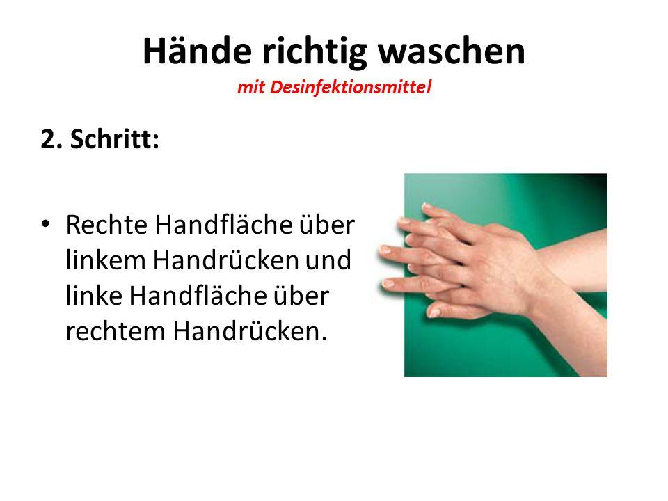 Hände richtig waschen mit Desinfektionsmittel 2.