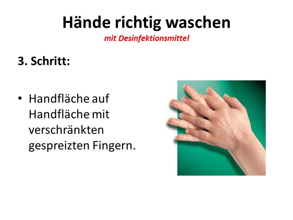 Hände richtig waschen mit Desinfektionsmittel 3.