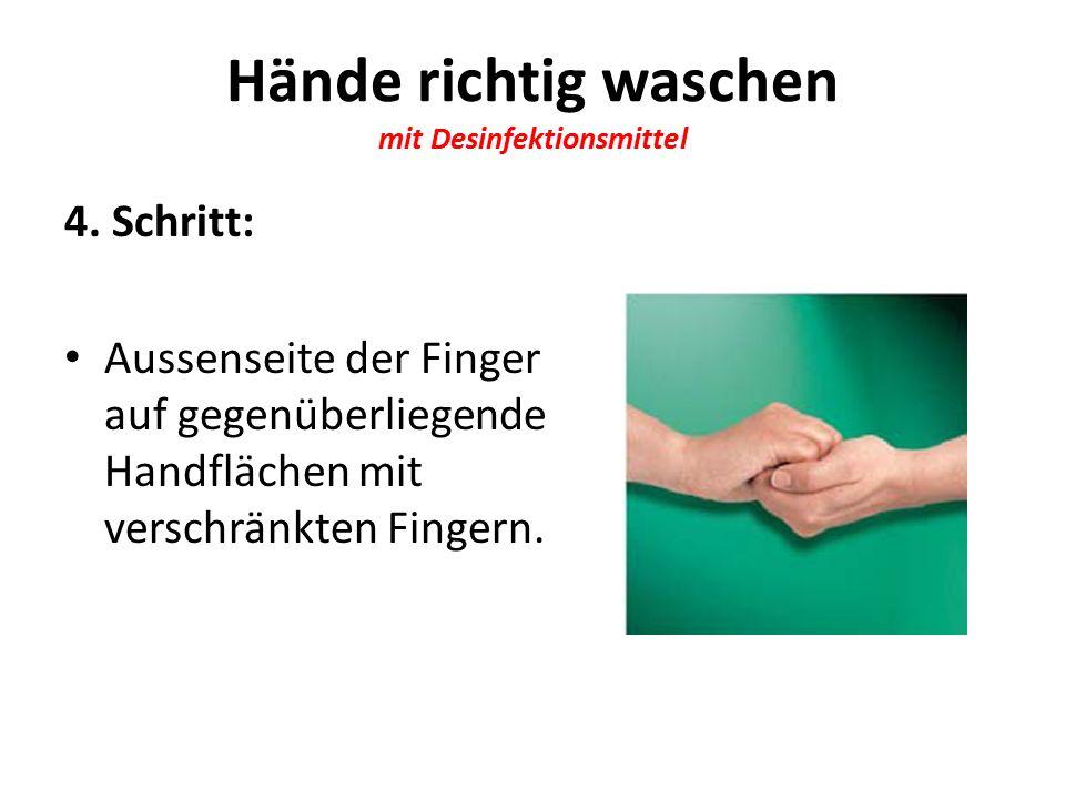 Hände richtig waschen mit Desinfektionsmittel 4.