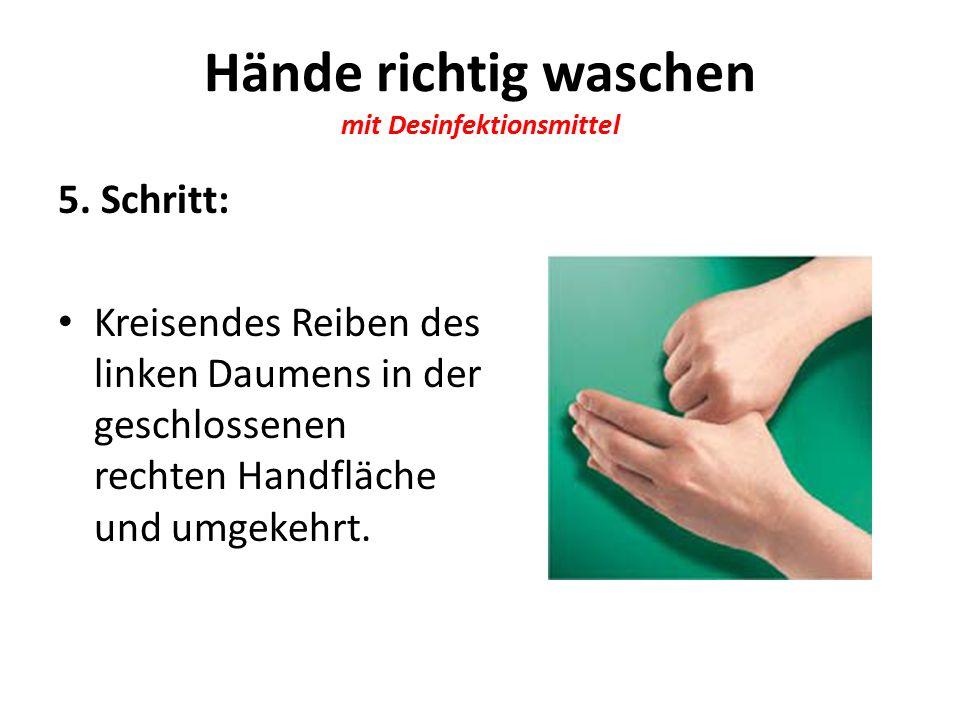 Hände richtig waschen mit Desinfektionsmittel 5.
