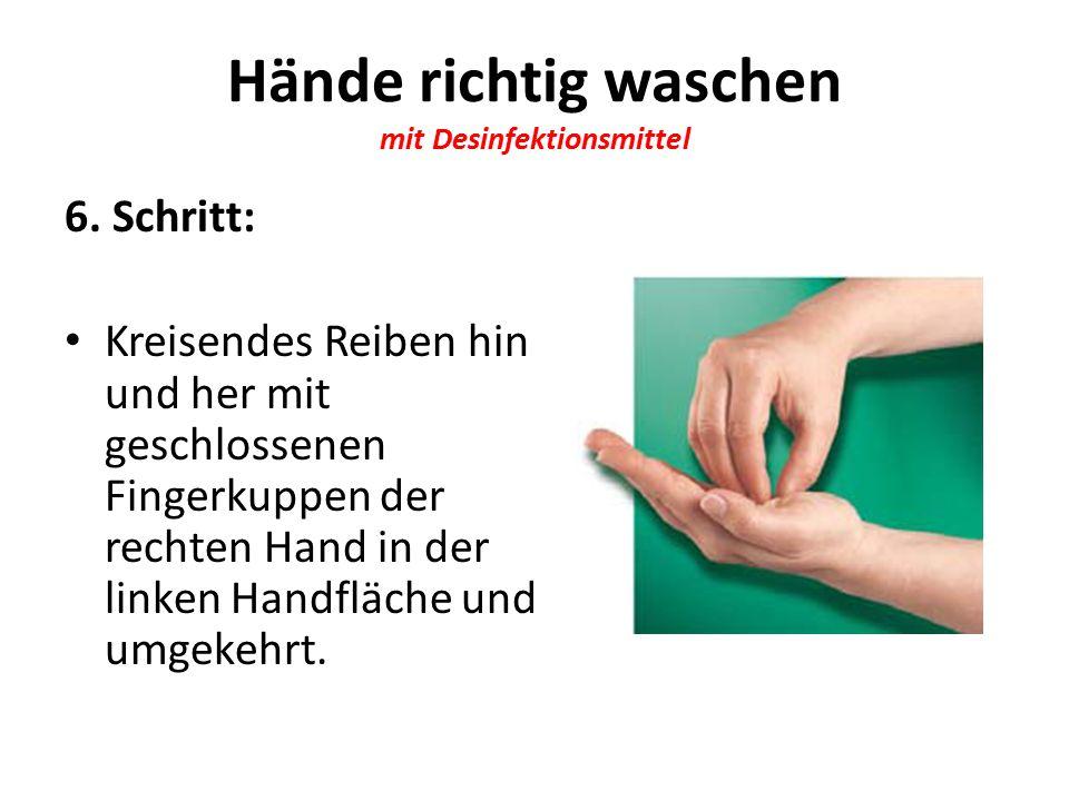 Hände richtig waschen mit Desinfektionsmittel 6.