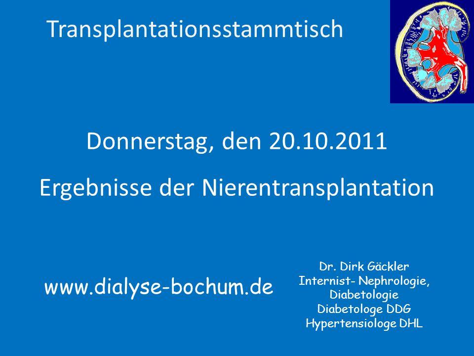 Ergebnisse des Bochumer Transplantationszentrums 810 Ersttransplantationen Januar 1993 bis Dezember 2005