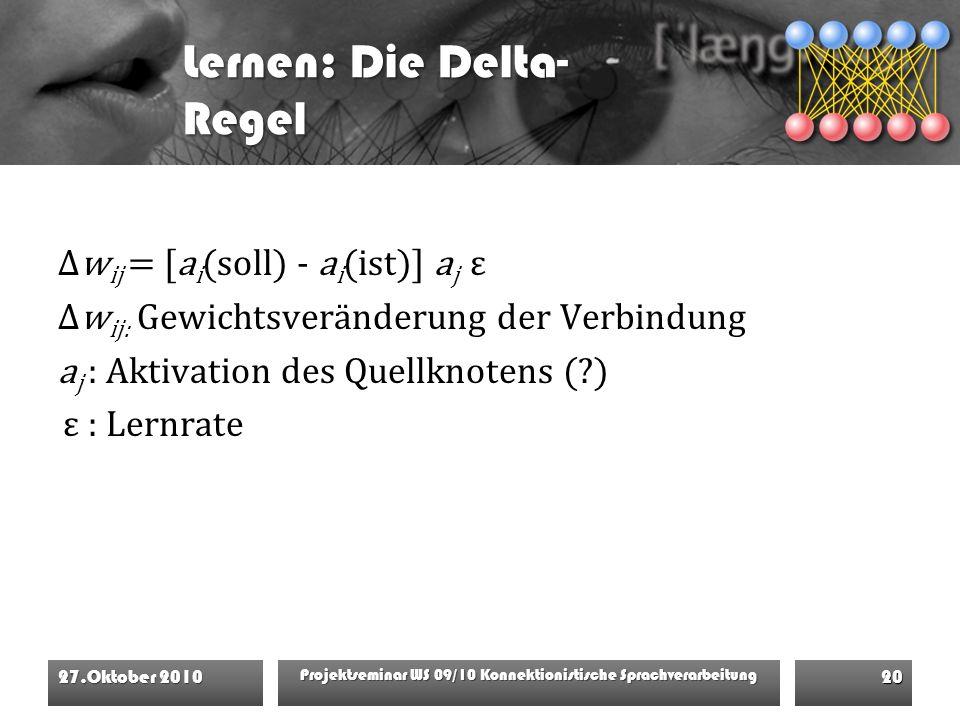 Lernen: Die Delta- Regel Δw ij = [a i (soll) - a i (ist)] a j ε Δw ij: Gewichtsveränderung der Verbindung a j : Aktivation des Quellknotens (?) ε : Lernrate 27.Oktober 2010 Projektseminar WS 09/10 Konnektionistische Sprachverarbeitung 20