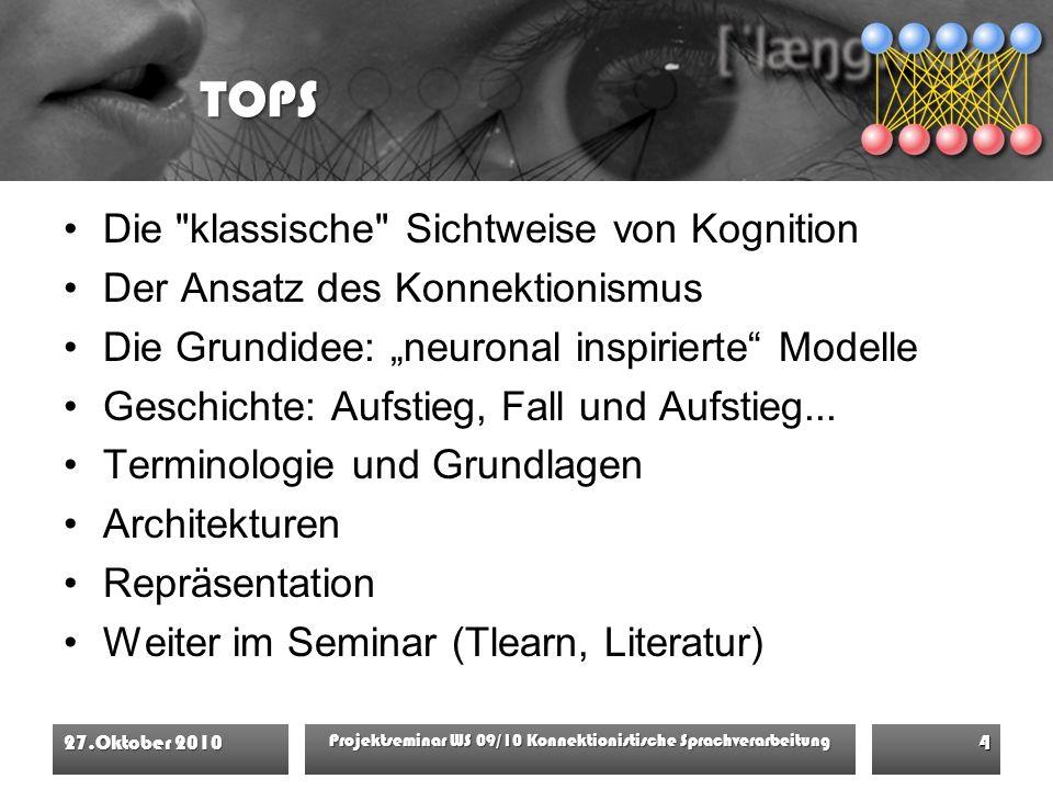 """TOPS Die klassische Sichtweise von Kognition Der Ansatz des Konnektionismus Die Grundidee: """"neuronal inspirierte Modelle Geschichte: Aufstieg, Fall und Aufstieg..."""