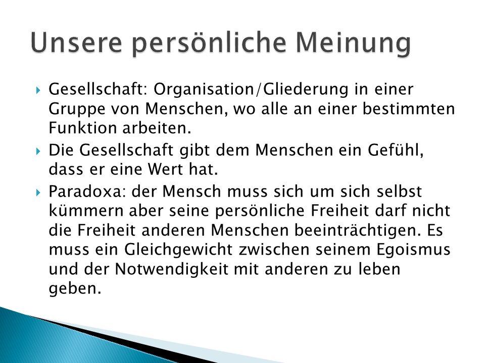  Gesellschaft: Organisation/Gliederung in einer Gruppe von Menschen, wo alle an einer bestimmten Funktion arbeiten.