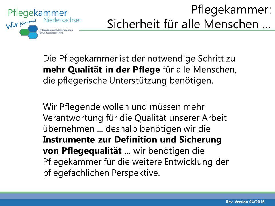 Pflegekammer für uns – gemeinsam sind wir stark Die Pflegekammer wird als größte Berufskammer in Niedersachsen ca.