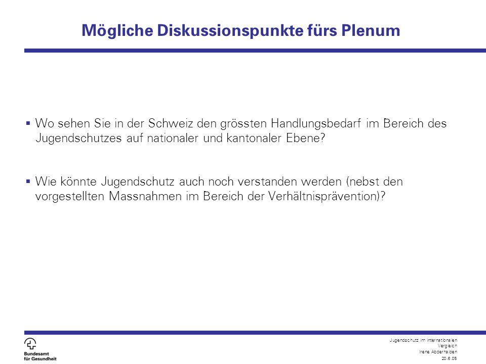 Jugendschutz im internationalen Vergleich Irene Abderhalden 20.6.05 Mögliche Diskussionspunkte fürs Plenum  Wo sehen Sie in der Schweiz den grössten
