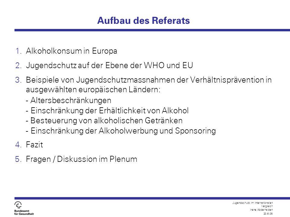 Jugendschutz im internationalen Vergleich Irene Abderhalden 20.6.05 Alkoholkonsum in Europa Europa `an der Spitze` aller WHO-Regionen:  Jährlicher pro Kopf Konsum:11 Liter reiner Alkohol pro Jahr (CH: 9 Liter)  Höchster Frauenanteil beim Gesamtkonsum: 20-30%  Ca.