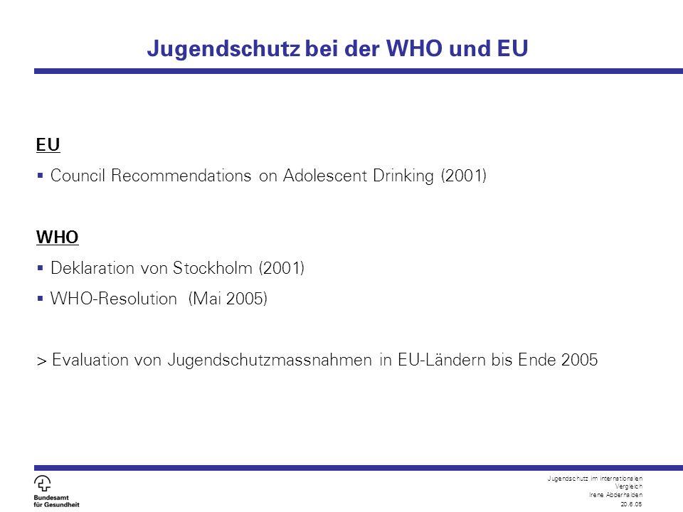 Jugendschutz im internationalen Vergleich Irene Abderhalden 20.6.05 Mögliche Diskussionspunkte fürs Plenum  Wo sehen Sie in der Schweiz den grössten Handlungsbedarf im Bereich des Jugendschutzes auf nationaler und kantonaler Ebene.