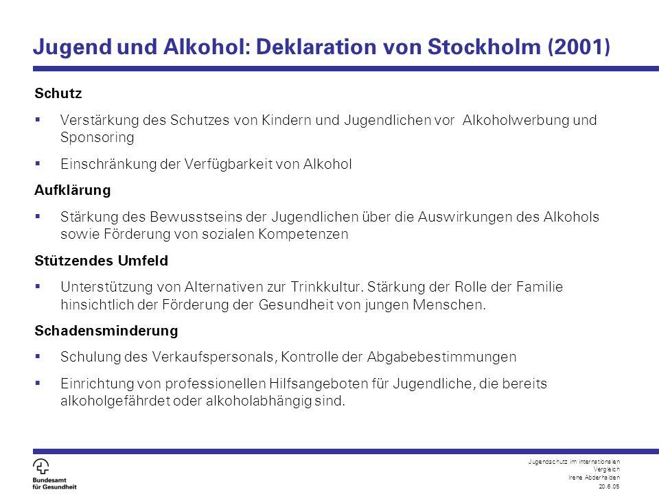 Jugendschutz im internationalen Vergleich Irene Abderhalden 20.6.05 Jugend und Alkohol: Deklaration von Stockholm (2001) Schutz  Verstärkung des Schu