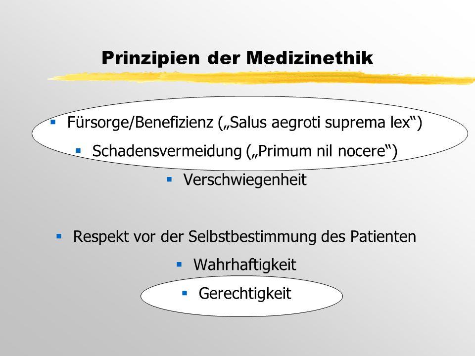 """Prinzipien der Medizinethik  Fürsorge/Benefizienz (""""Salus aegroti suprema lex )  Schadensvermeidung (""""Primum nil nocere )  Verschwiegenheit  Respekt vor der Selbstbestimmung des Patienten  Wahrhaftigkeit  Gerechtigkeit"""