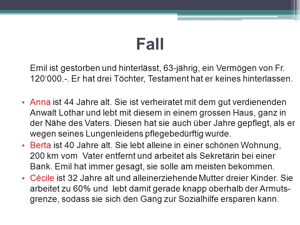 Fall Emil ist gestorben und hinterlässt, 63-jährig, ein Vermögen von Fr. 120'000.-. Er hat drei Töchter, Testament hat er keines hinterlassen. Anna is