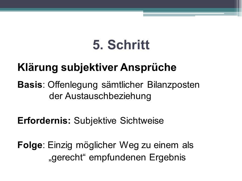 5. Schritt Klärung subjektiver Ansprüche Basis: Offenlegung sämtlicher Bilanzposten der Austauschbeziehung Erfordernis: Subjektive Sichtweise Folge: E