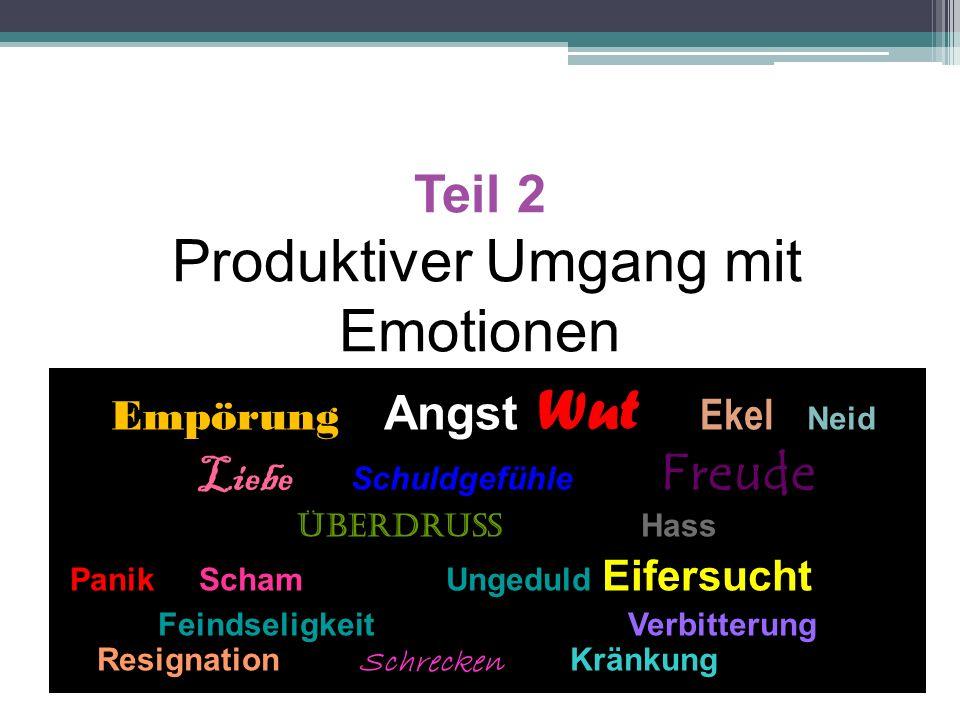 Teil 2 Produktiver Umgang mit Emotionen Empörung Angst Wut Ekel Neid Liebe Schuldgefühle Freude Überdruss Hass Panik Scham Ungeduld Eifersucht Feindse